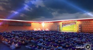 Public Viewing zur Fußball-WM 2014 Ein Wohnzimmer im Stadion des 1. FC Union